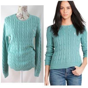 Polo by RL Summer Mint Cableknit Sweater Sz Lg